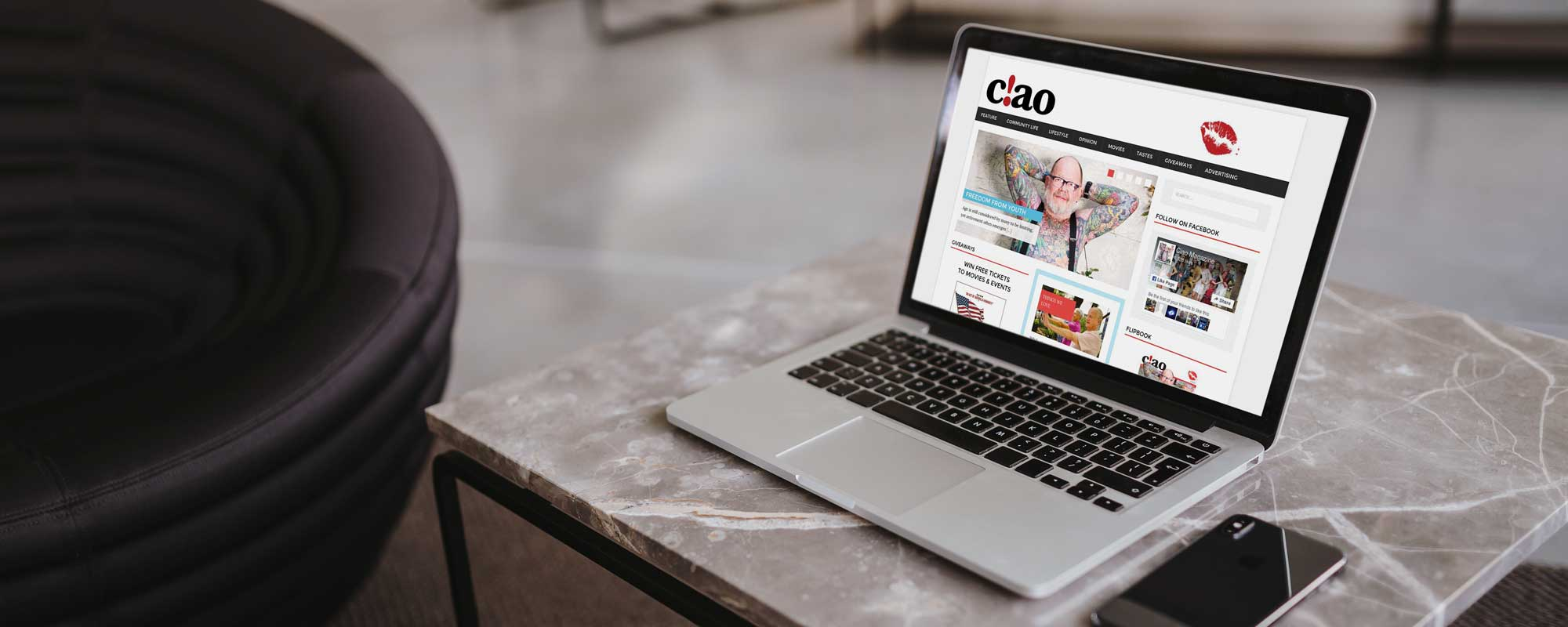 ciao magazine website design